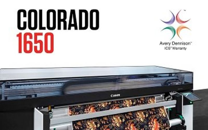 COLORADO 1650 AND CANON UVGEL INK RECEIVE AVERY DENNISON ICS WARRANTY CERTIFICATION