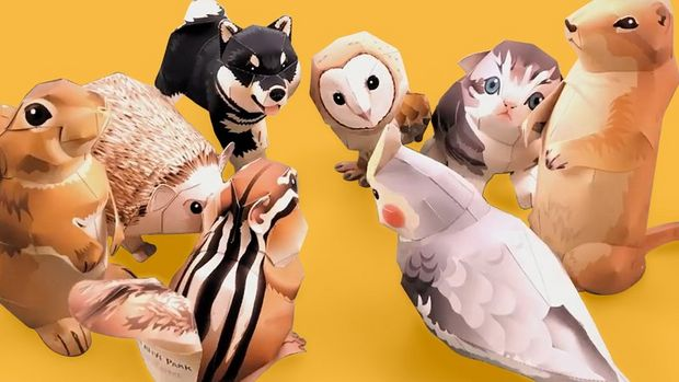 A selection of paper-crafted animals from Canon's Creative Park, including an owl, a squirrel and a hedgehog.