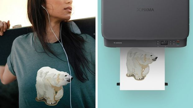 A woman wearing a t-shirt decorated with an iron-on transfer of a polar bear (left). A printout on a printer tray of an iron-on transfer of a polar bear (right).