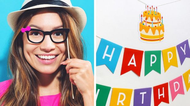 A woman holding printed sunglasses (left). A printed banner spelling 'Happy Birthday' (right).