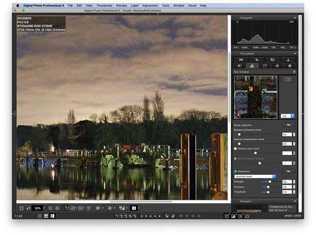 A photo taken on a river at dusk, with image noise being corrected in DPP.