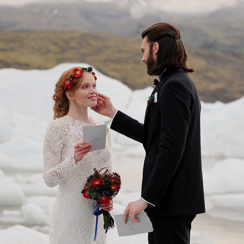 Elopement in Iceland and couple exchanging vows shot on the Canon EOS R and RF 24-105mm F4L IS USM