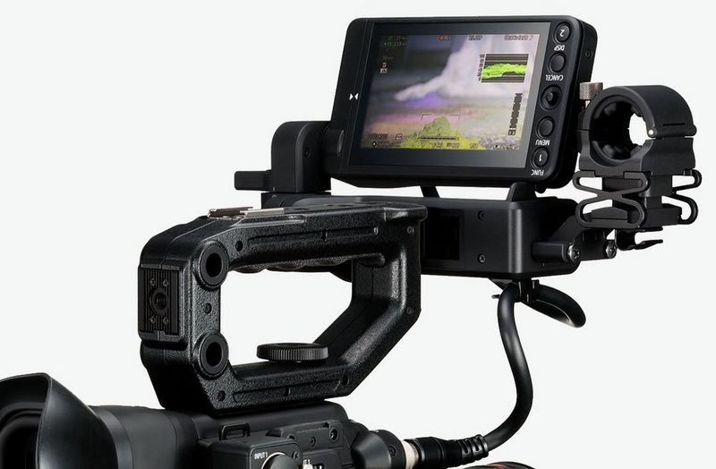Close up view of Canon video camera LCD monitor showing touch screen feature