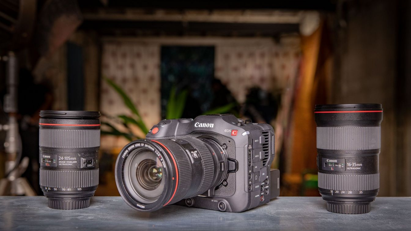 EOS C70, with EF lens
