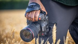 A man stands in a wheat field holding a Canon EOS C70 camera by his side.