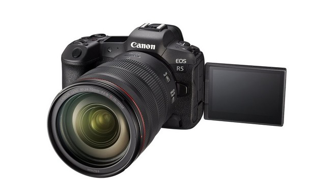 A Canon EOS R5 with Canon RF 24-70mm F2.8L IS USM lens. The Vari-angle screen is rotated to the side.
