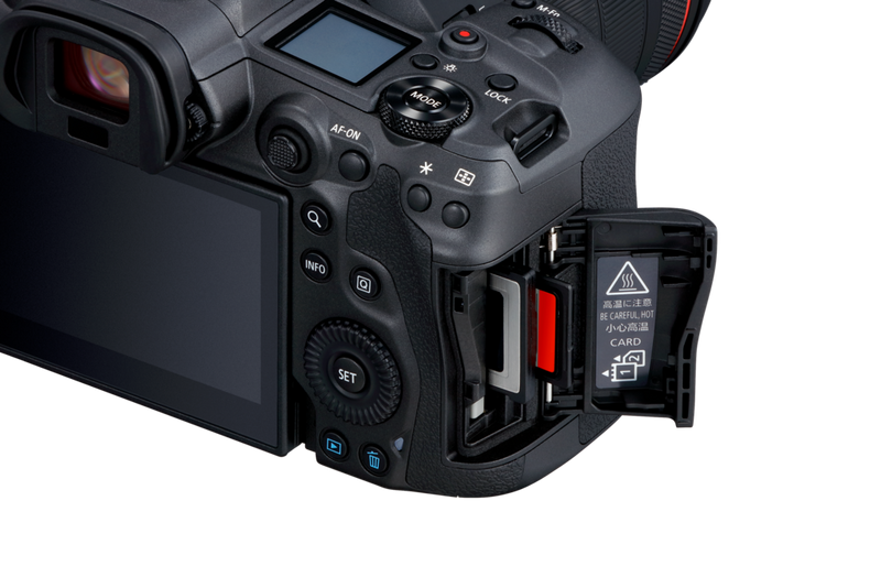 The Canon EOS R5 viewed from the user's right. The two card slots are under a flap on the side.