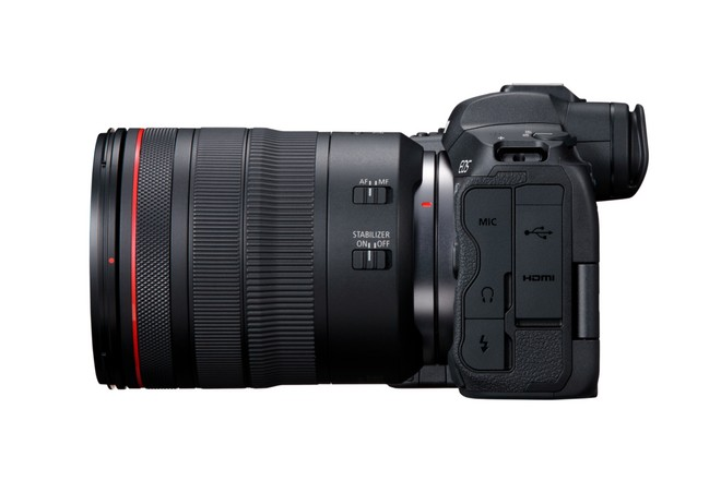 The Canon EOS R5 seen from behind, showing the flaps at the user's left-hand side, beneath which are a range of connection options.