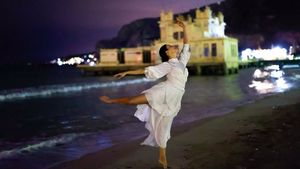 ballet performance against the sea backdrop