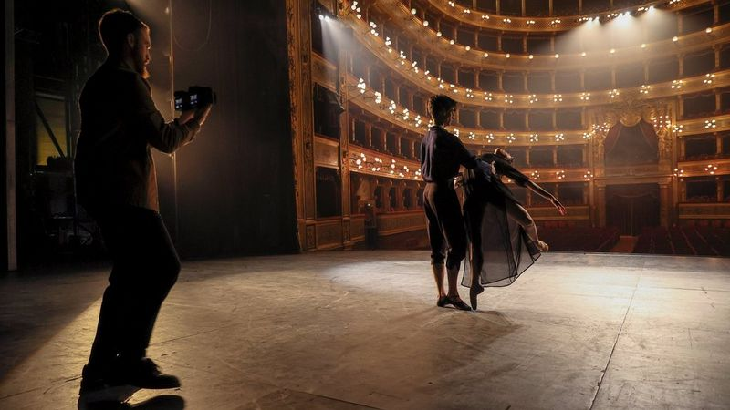 Javier shooting two ballet dancers in a theatre with Canon EOS R6