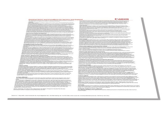 General Terms and Conditions for Service and Support for Canon