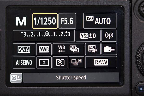 The back of a Canon EOS 90D showing the shutter speed settings.