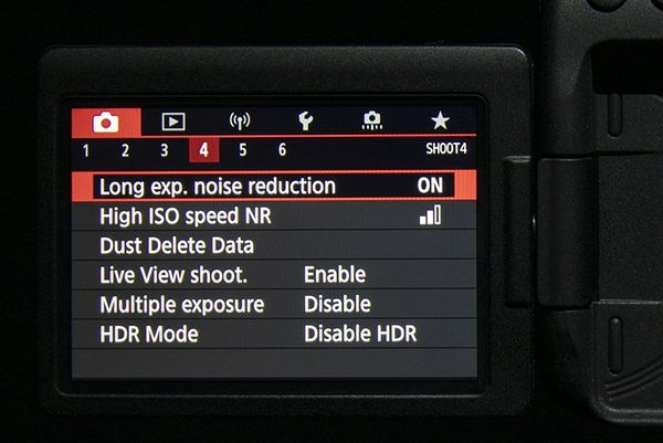 The screen of a Canon EOS 90D showing the Long exposure noise reduction setting.