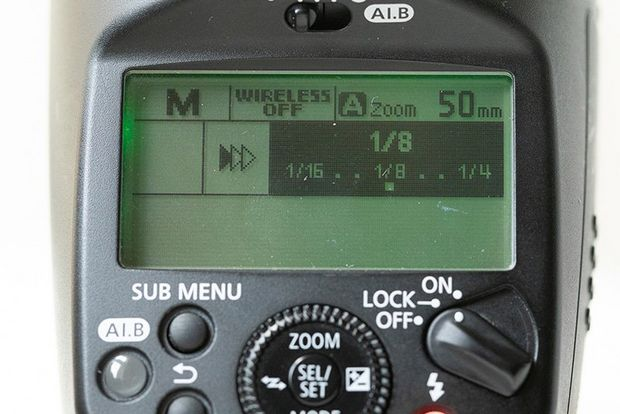 The settings display on the back of a Speedlite.