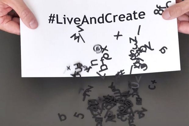 Picture of hashtag #liveandcreate printed on PIXMA TS5350 printer.