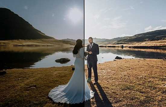 A before and after shot of a couple on their wedding day next to a lake, dark and unedited on the left, showing the lighter version on the left, edited in DPP.