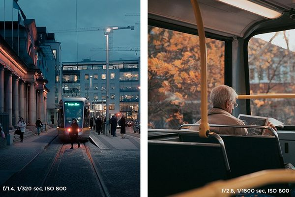 A tram on the tracks in Dublin city centre (left). An old man reading the newspaper on the top level of a double-decker bus (right).