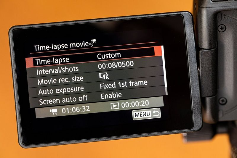 The Time-lapse movie Custom settings screen.
