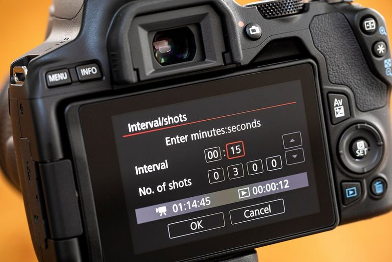 The Time-lapse movie interval settings on the LCD screen of a Canon EOS 250D.