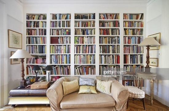 Image of a living room with a colourful bookcase across the back wall, two large table lamps on side tables and a two-seater silk sofa in the middle.
