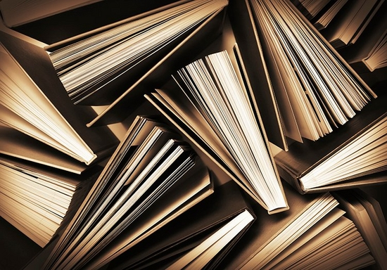 Sepia graphic of hard-backed books as seen from above, with pages fanned out.