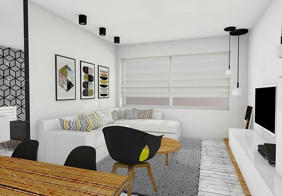Digitally created image of a living room, with white walls, white sofa, dark chairs, wooden tables, and black and white light fittings