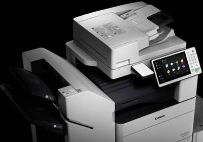 Canon multifunction printer for offices, with scanner, copier and large colour touchscreen.