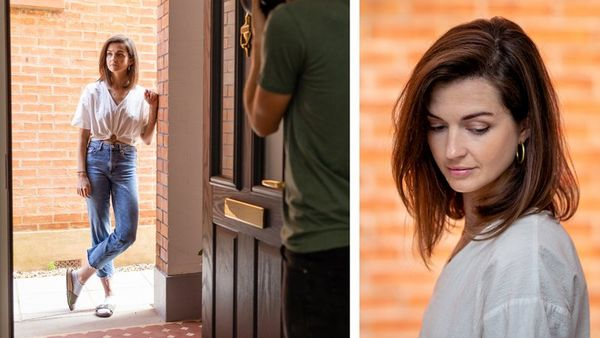 A composite image: left, a photographer captures a women standing on a front porch; right, a portrait of a woman with a brick wall behind.