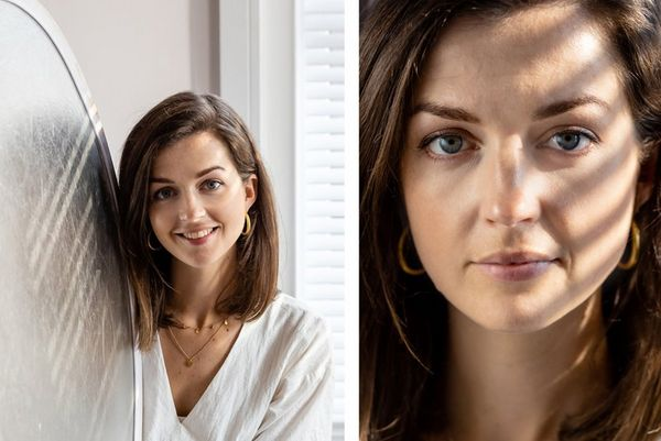 A composite image: left, a woman holds a reflector; right, a portrait of a woman with natural light shining across her face.