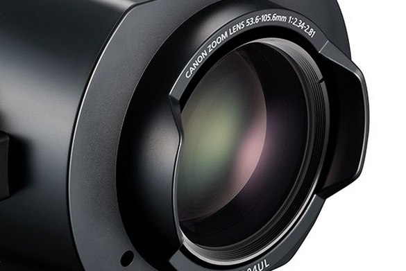 Close-up view of Canon's wide angle interchangeable Projector lens