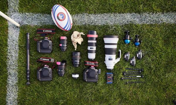 A selection of Canon EOS-1D X Mark II cameras, L-series lenses and accessories.
