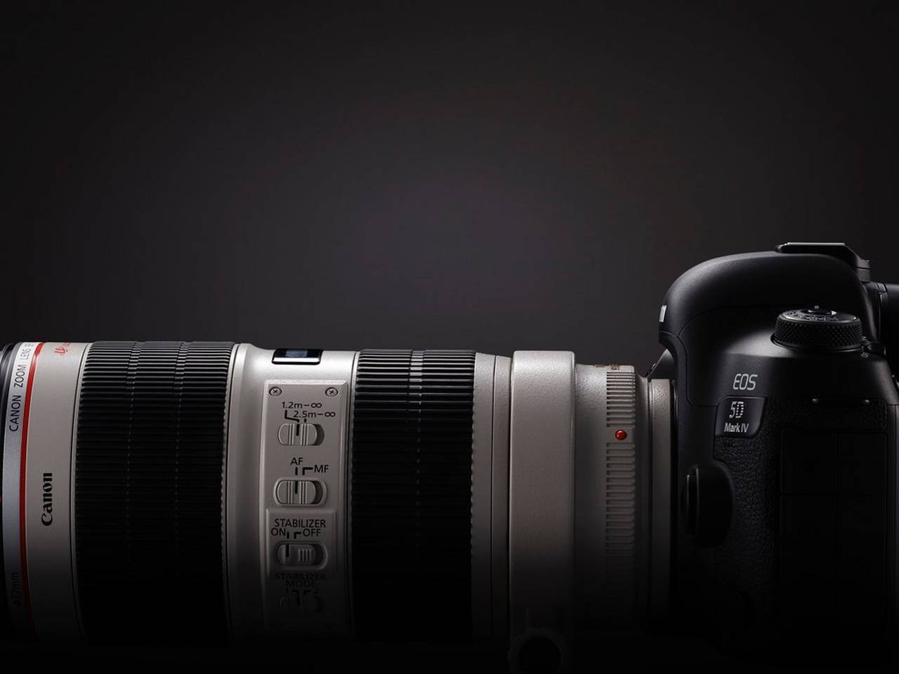 EOS 5D Mark IV side view with EF70-200mm f/2.8L IS II USM zoom
