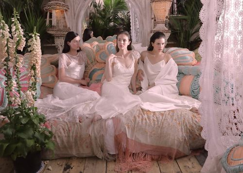 Fashion Shot - Group shot, three women in white dresses sitting on a couch surrounded by plants and flowers - taken with a EOS 5D Mark IV