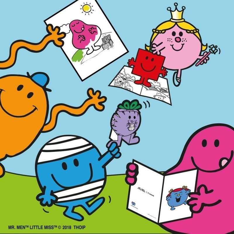 Mr Men characters holding creative prints