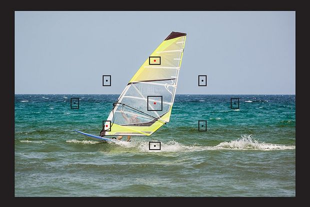 AF focus zone on windsurfer