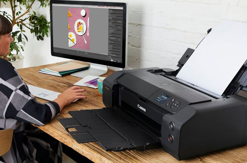 A woman sat at a desk using a computer with a Canon PIXMA PRO-200 printer on her desk.