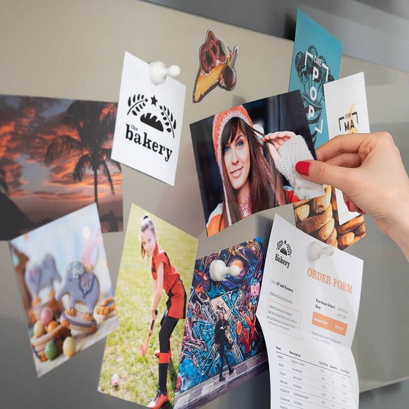 explore your creativity – pictures, and stickers pinned on a board