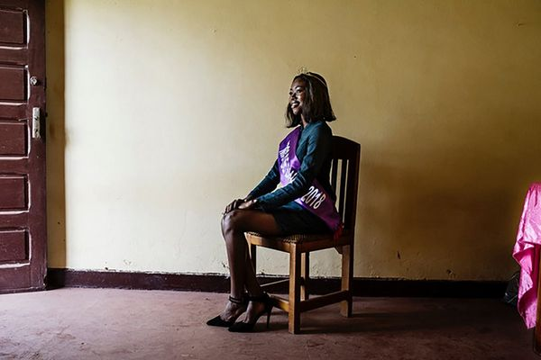 Miss Bangui, 23-year-old Charlène Sambo, poses backstage at the Boganda National Museum in Bangui, the capital of the Central African Republic.