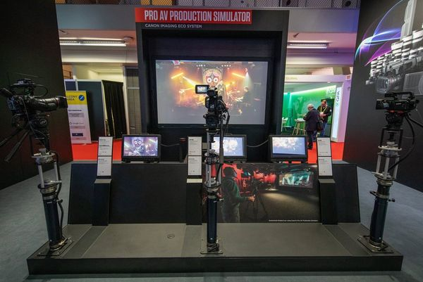 A Canon camera and two camcorders on the Pro AV production simulator stand at ISE 2020.