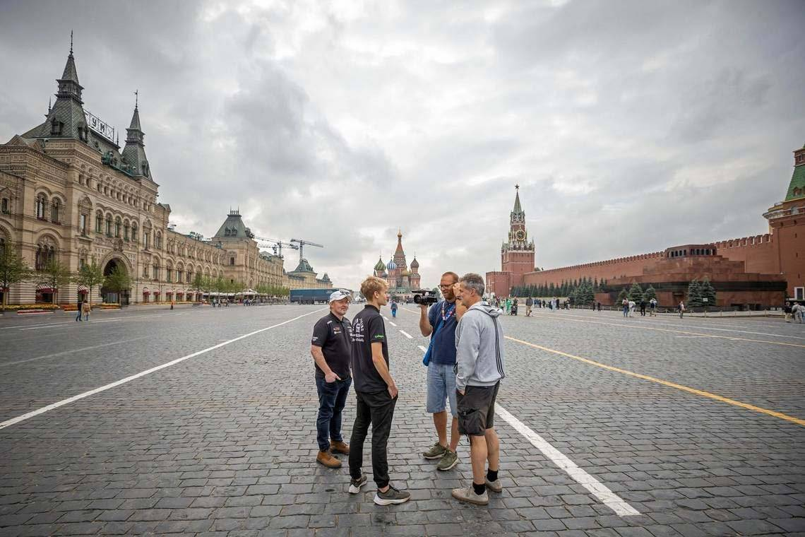 Cinematographer Clemens Boecker films Joey and Luke Kelly in Red Square, Moscow, with a Canon XA55 camcorder.