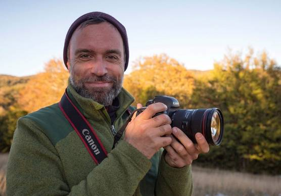 Photographer and Canon Ambassador Bruno D'Amicis with his Canon camera.