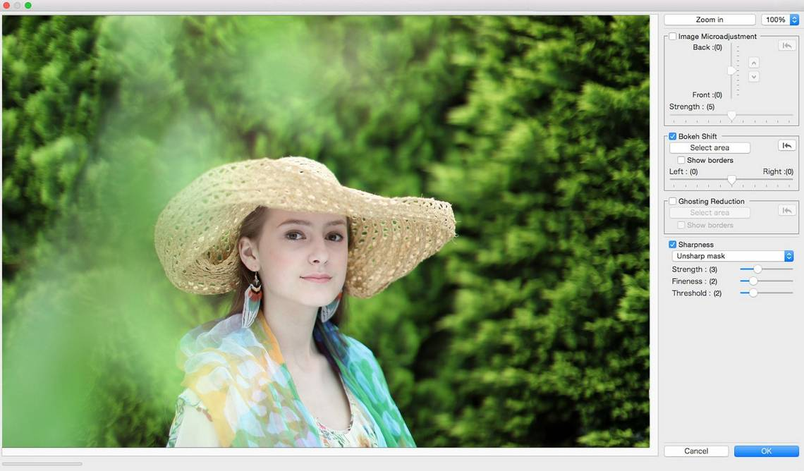 A photo of a woman wearing a straw hat in a garden, with the foreground bokeh being adjusted in DPP.