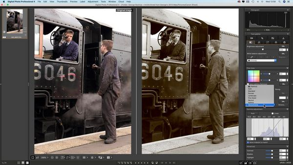 A picture of two men at the footplate of a steam locomotive, in colour and in mono in DPP.