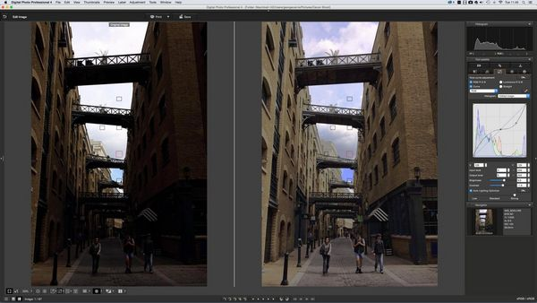 Deeply shadowed buildings lightened in DPP to reveal detail without blowing out highlight areas in the sky behind.
