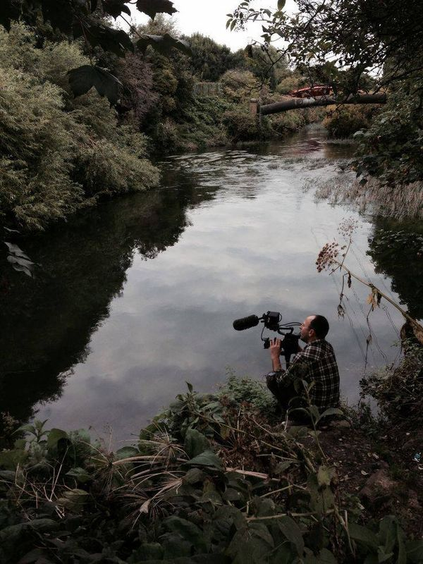 Cinematographer Zed Nelson filming with a Canon EOS C300 in Hackney Marshes. Photo by Pinny Grylls.