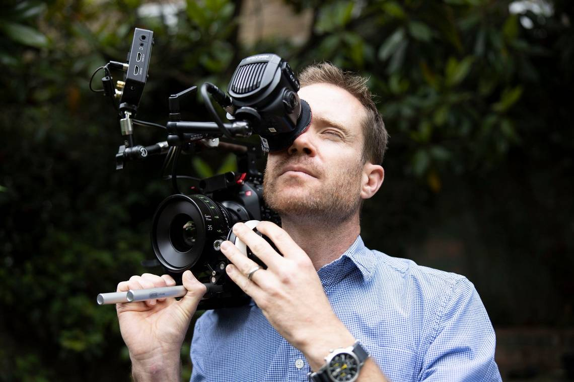 DoP Patrick Smith with a Canon EOS C500 Mark II cinema camera.
