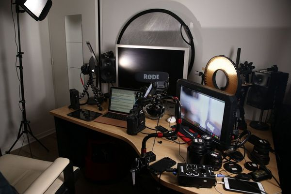 Sébastien Devaud's home office setup, with cameras, monitors, lenses and lighting equipment.