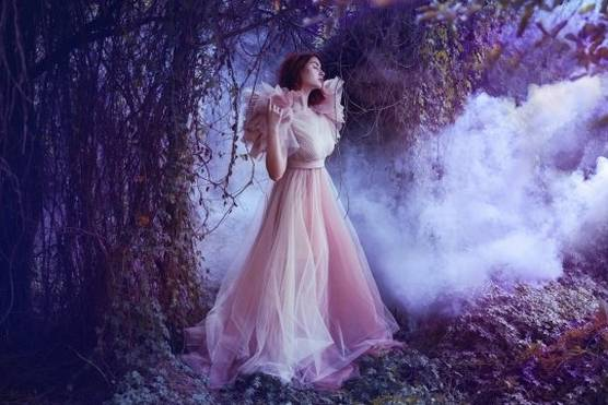 A model in a dusty pink dress stands amid a forest setting. In the background, mist rises.