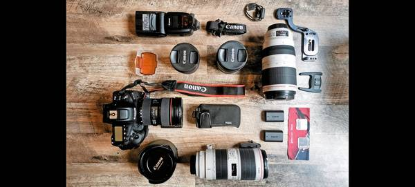 Milly Grange-Bennett's Canon EOS-1D X Mark III and Canon lenses laid out.