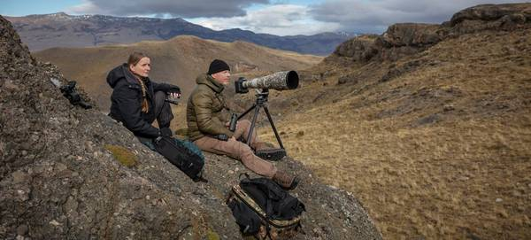 Wildlife photographer Ingo Arndt and his wife Silke with their Canon kit.